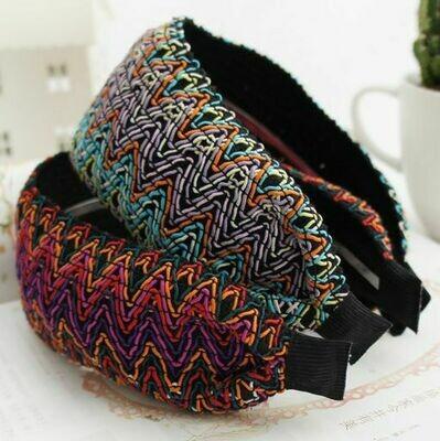Bohemian rainbow ribbon wide headband