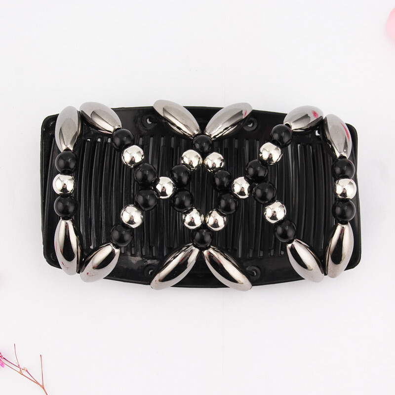 Pearl beads stretchy double hair comb