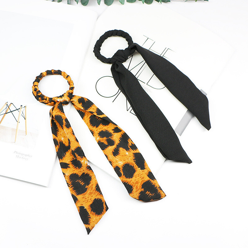Black & Leopard hair elastic with scarf (2 pack)