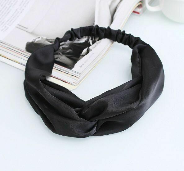 Black satin turban headband