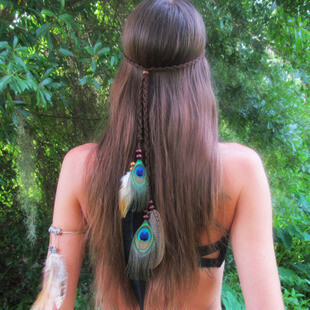 Gorgeous feathers hair band - Black
