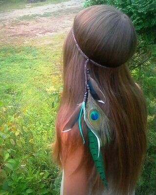 Gorgeous feathers hair band - Green
