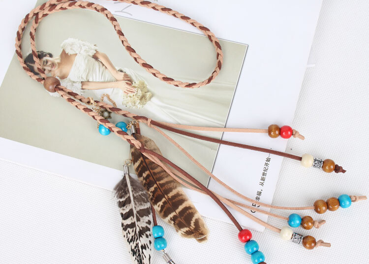 Coloured beads peacock & brown feathers hair band