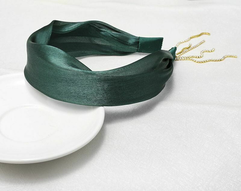 Glitter satin headband with crystal drop