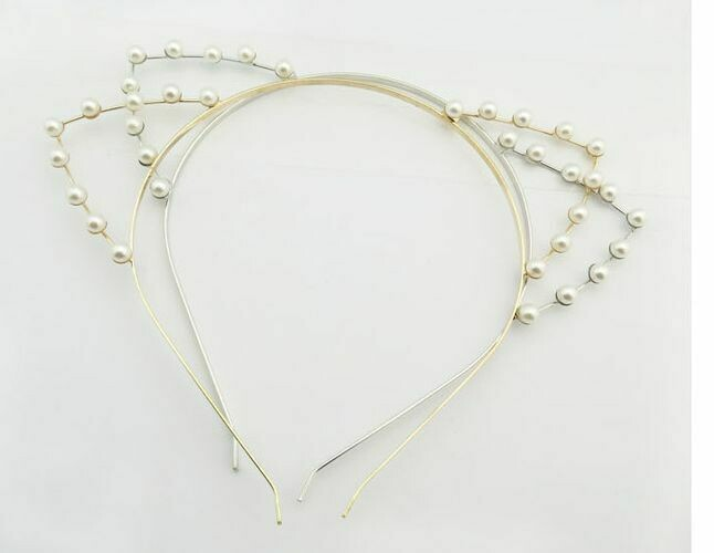White pearls cat ears headband