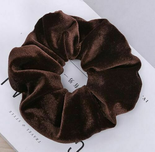 Large Smooth velvet scrunchies - 20 pieces Coffee colour