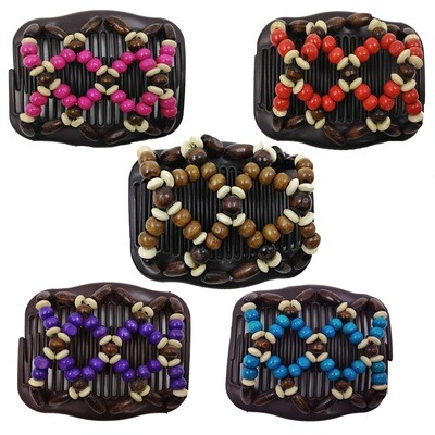Beaded stretchy double hair comb