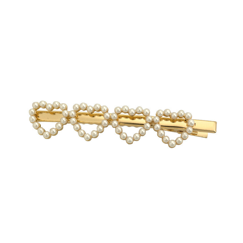 Pearl studded hearts hair slide