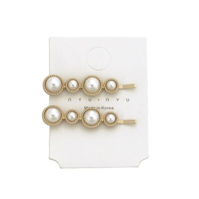 Pearl studded circle hair clips - 2 pack