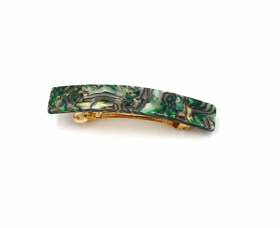 Resin hair barrette in emerald