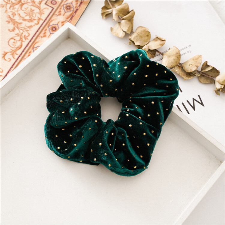 Large studded velvet scrunchies