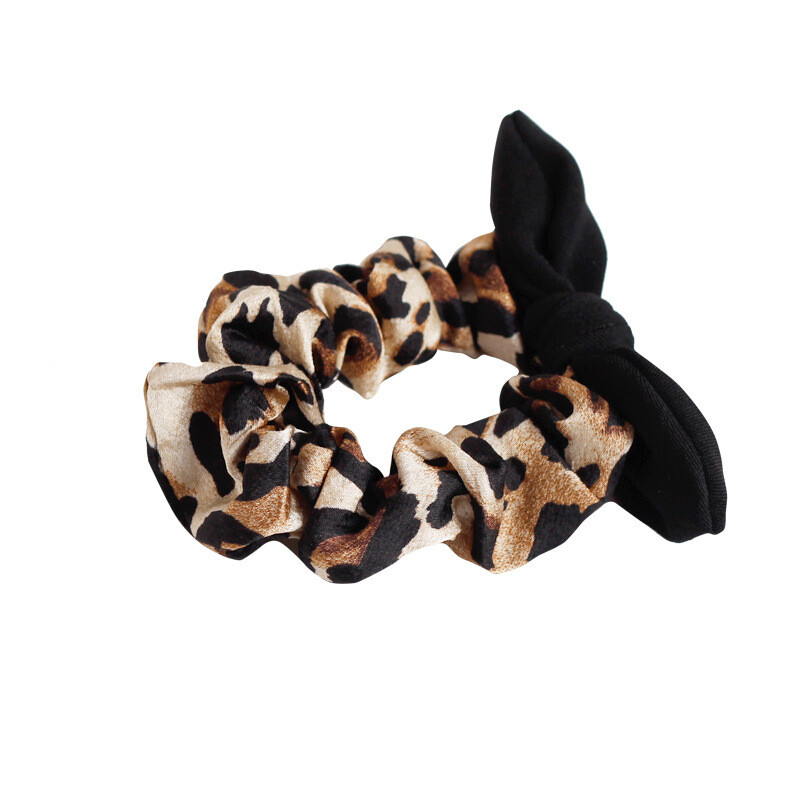 Leopard print scrunchies with black bow