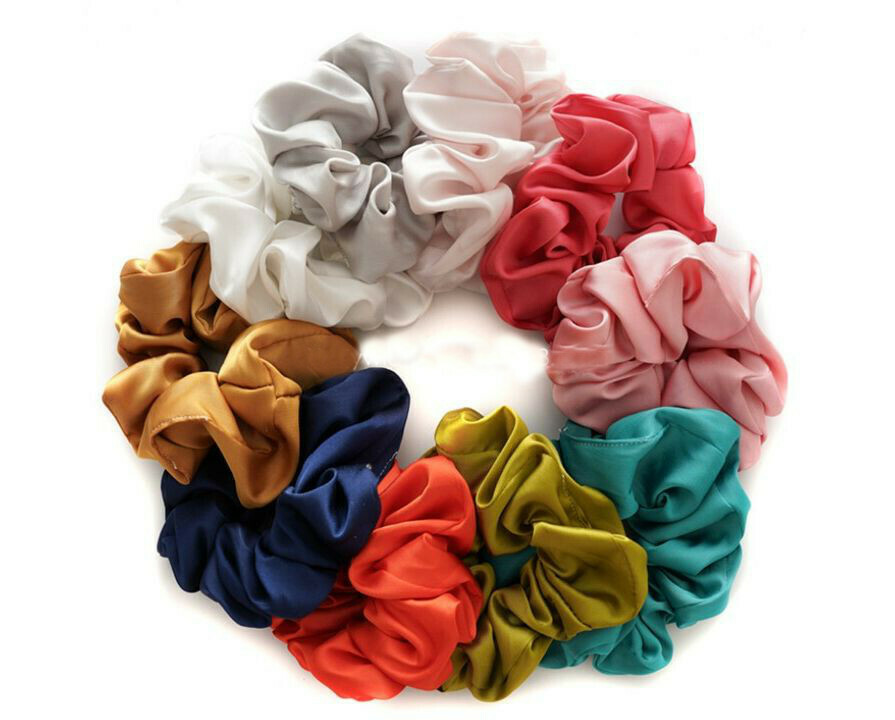 Silky satin scrunchies - 30 pack