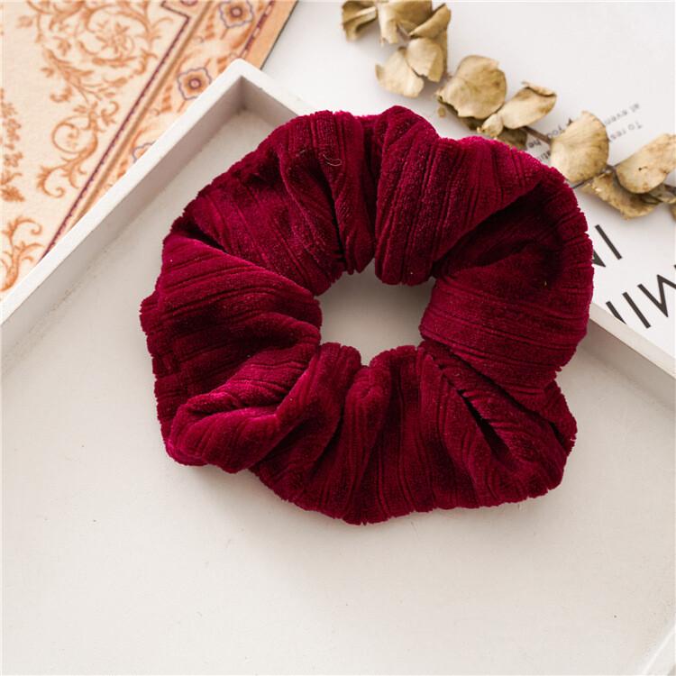 Extra-large coral velvet scrunchies