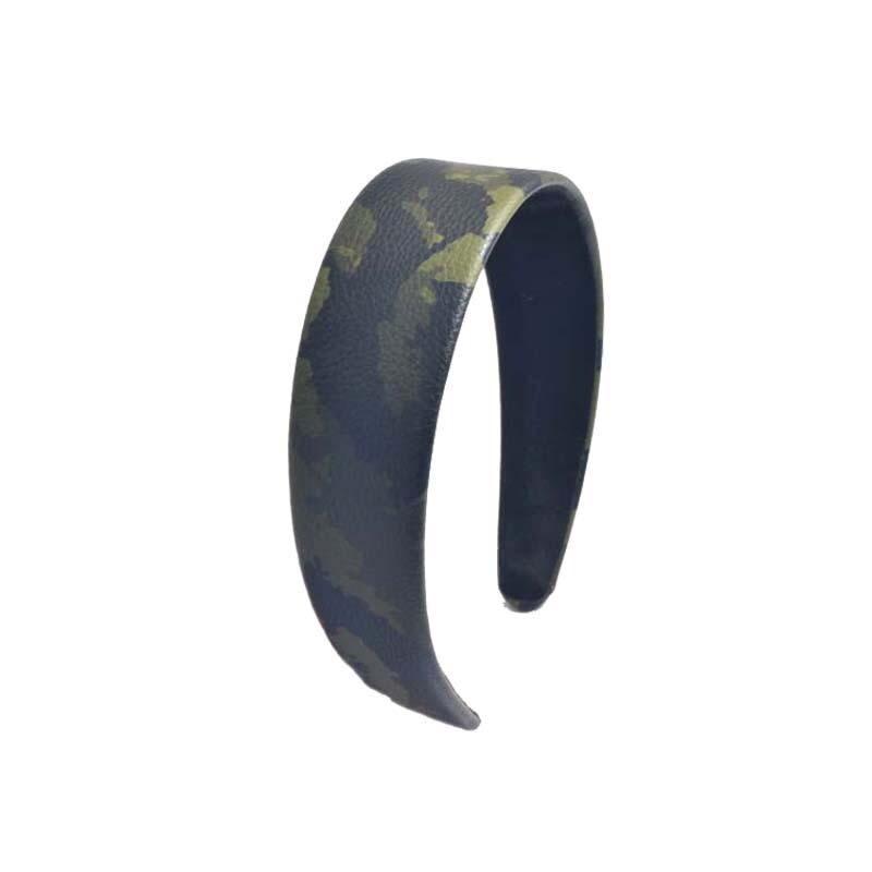 Camouflage print leather headband