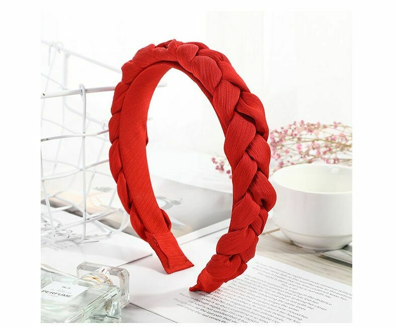 Braided top chiffon headband