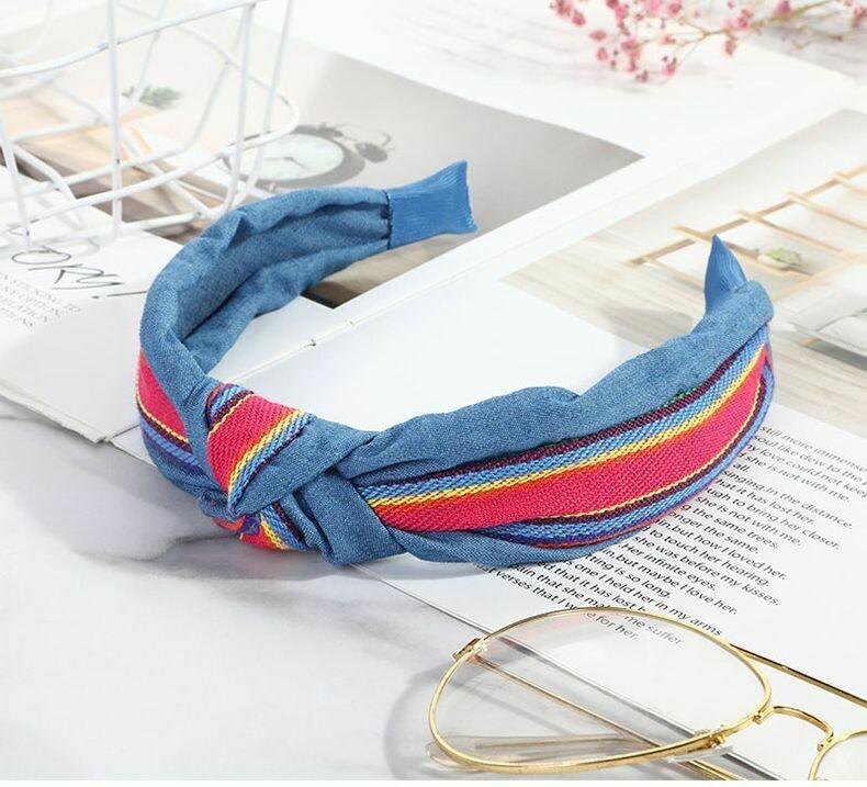 Rainbow jeans knot headband