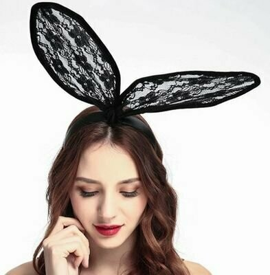 Large black lace bunny-ear headband