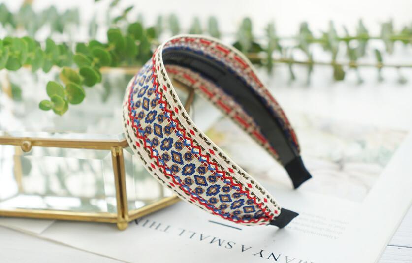 Bohemian style stitched woven headband