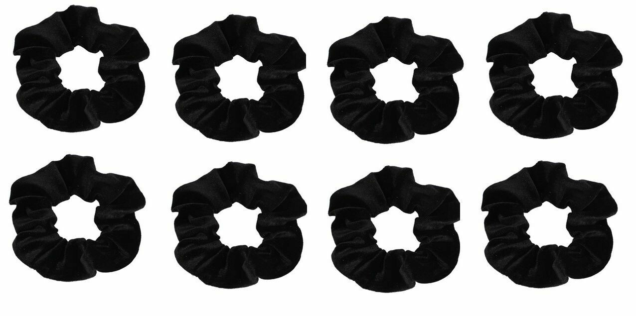 Black smooth velvet scrunchies - 100 pieces