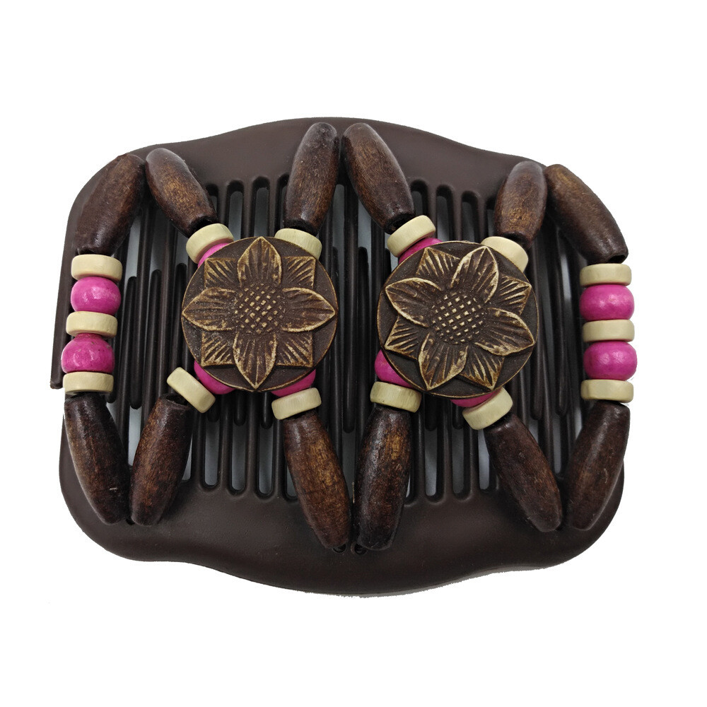Floral wooden beads butterfly hair comb
