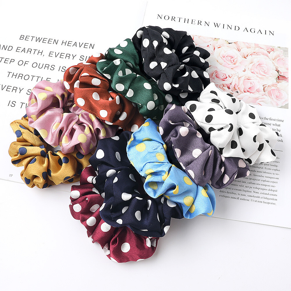 Polka dots satin scrunchies - 20 pack