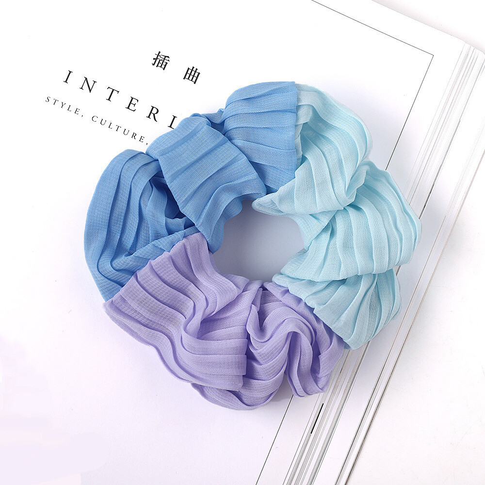 Large triple-coloured chiffon scrunchies