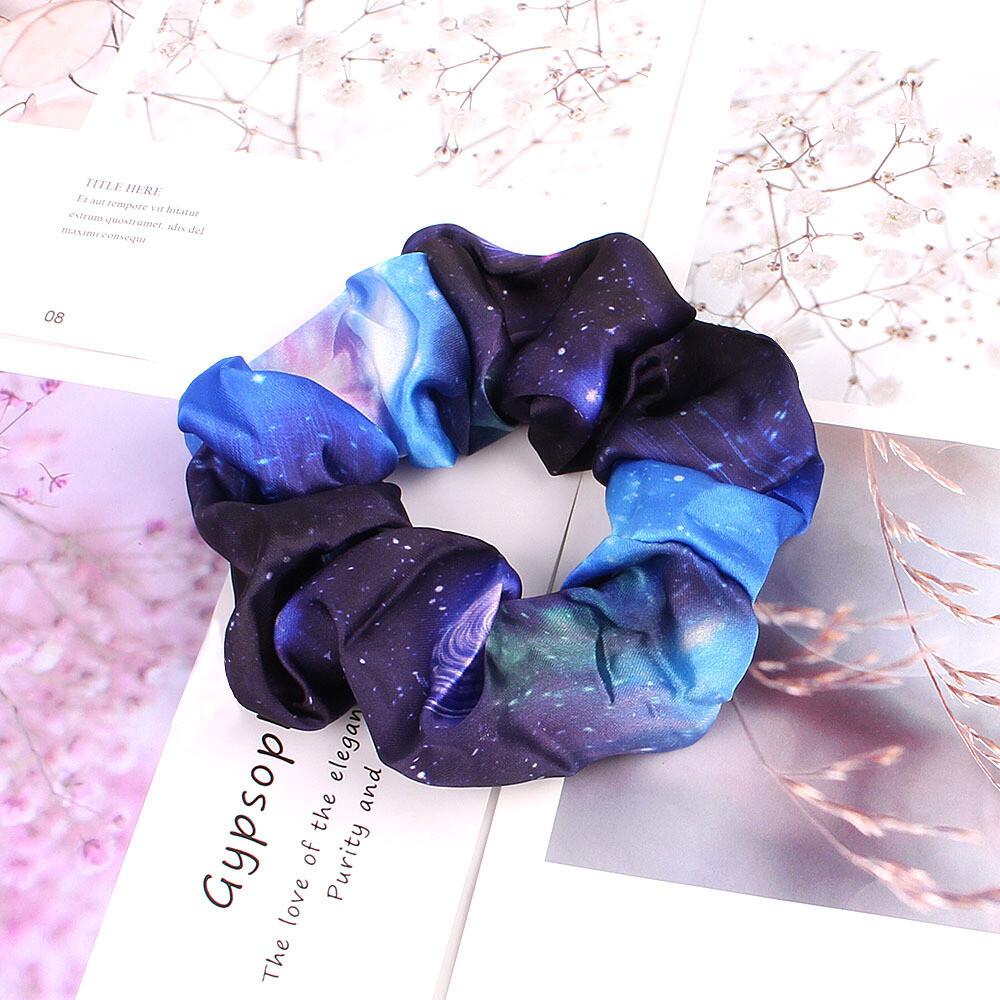 """Night sky"" print chiffon scrunchies"