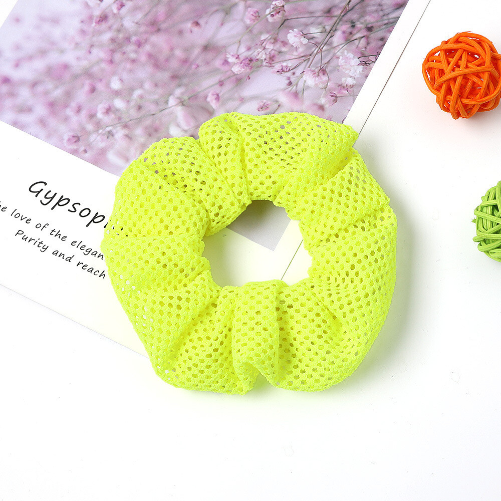 Neon net fabric scrunchies