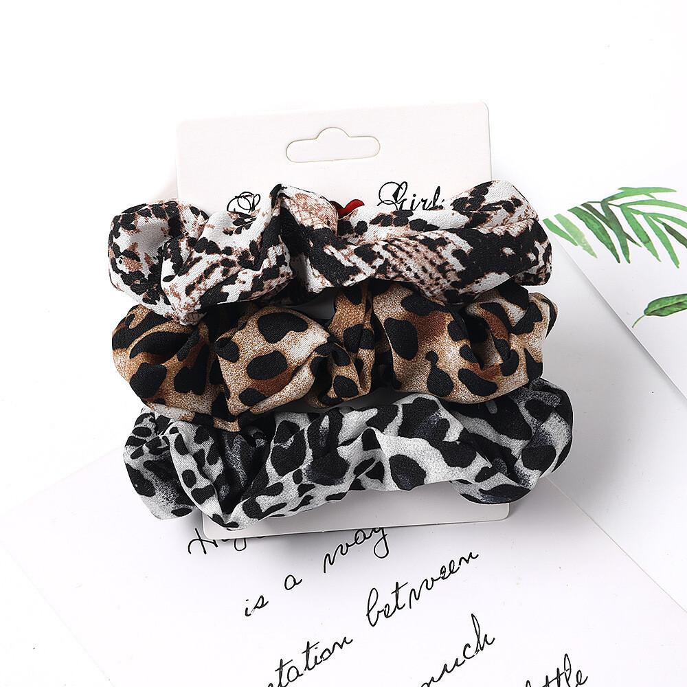 3-pack leopard & snake skin chiffon scrunchies