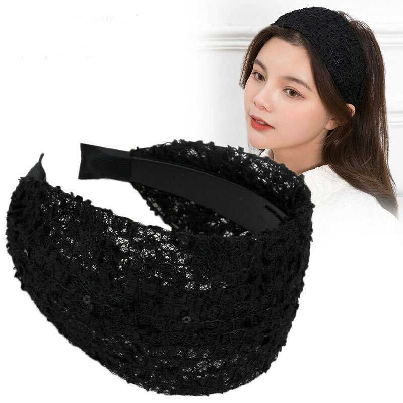 Floral lace wide headband