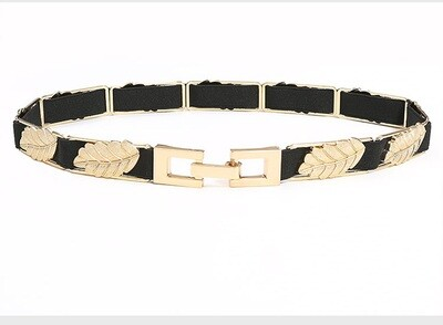 Metal leaves studded elastic belt