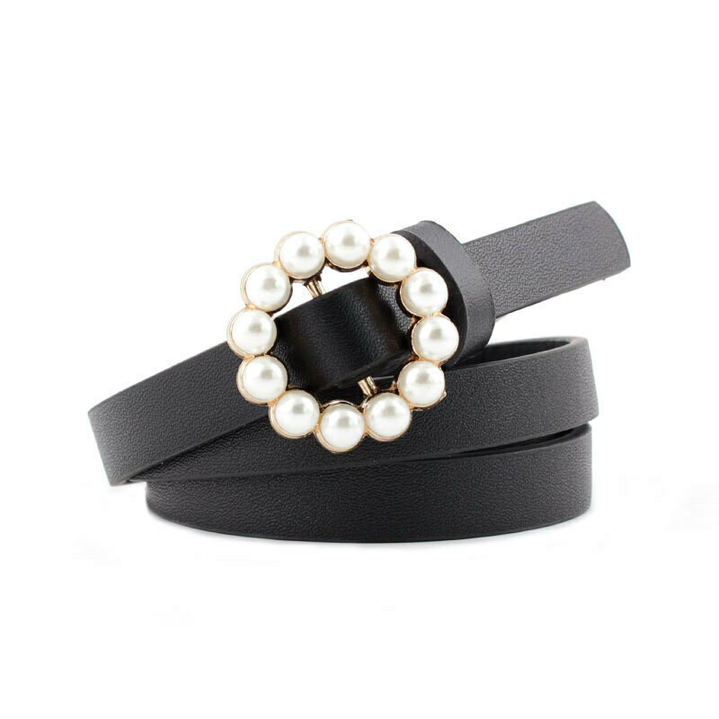 Pearl studded buckle thin belt