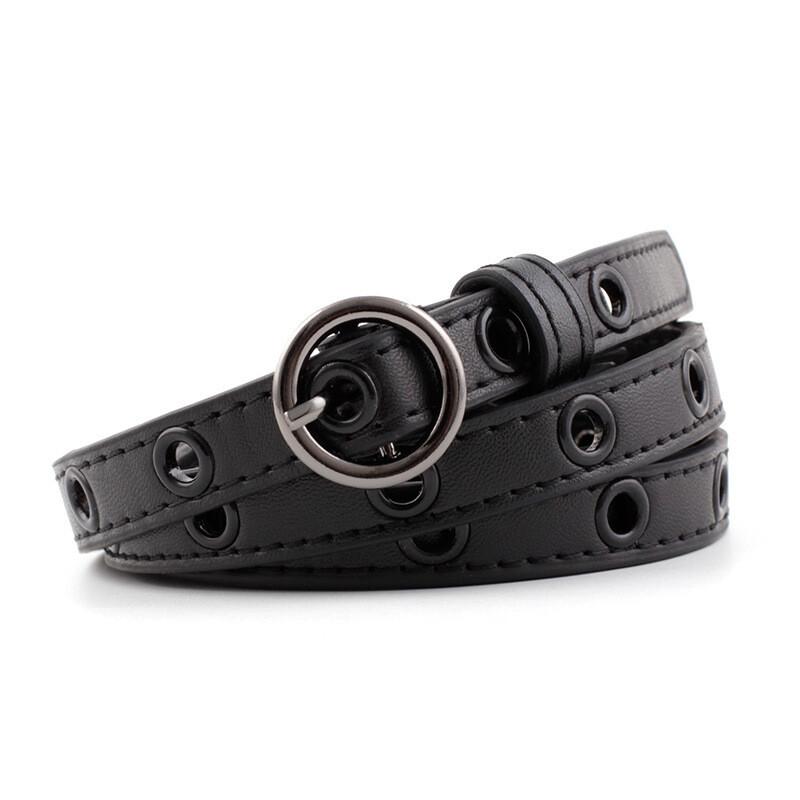 Circle studded thin belt