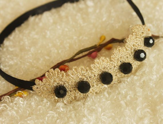 Lace black-beads headband 00043