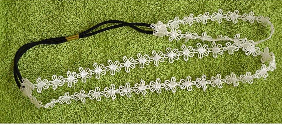 Lace double-wrap flower headband 00053