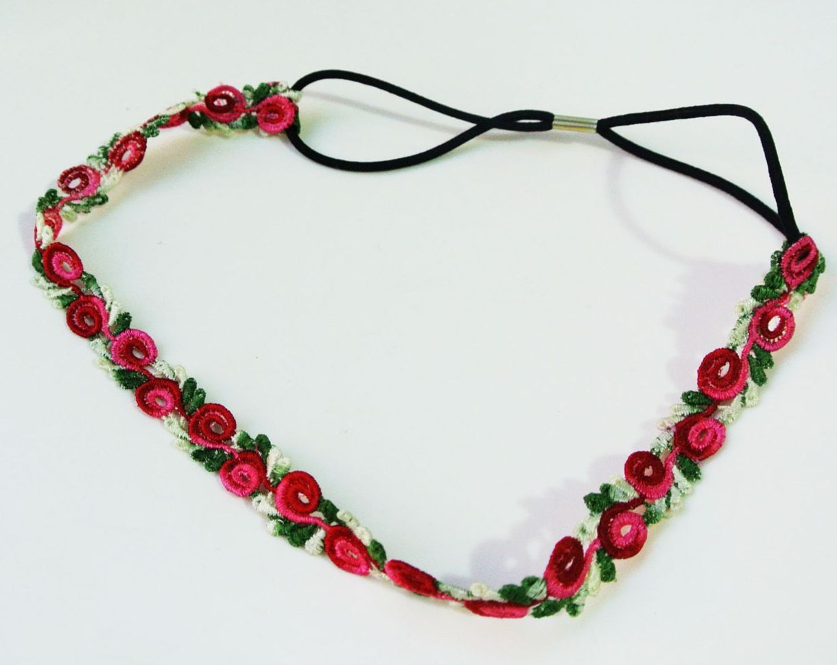 Lace rose flower elastic headband 00089