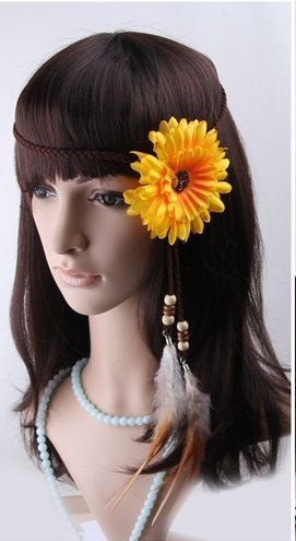 Bohemian sunflower feather hair band 00091