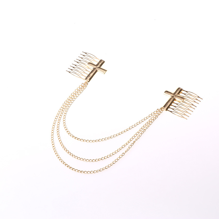 Shiny cross double hair comb