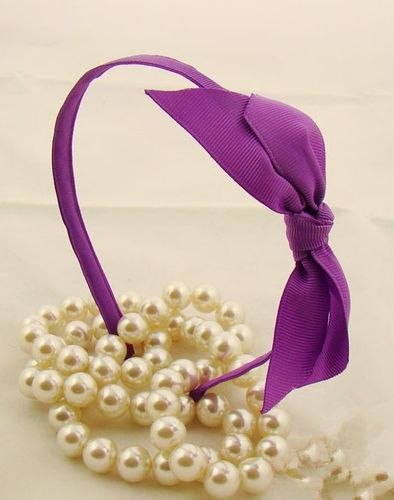 Ribbed-ribbon bowknot headband