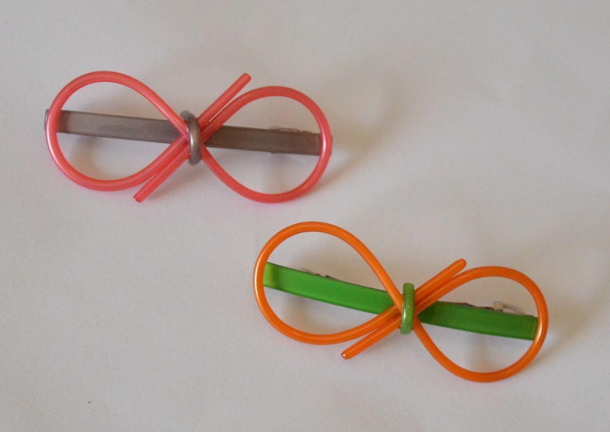 Round bow-tie acrylic hair clip 00127