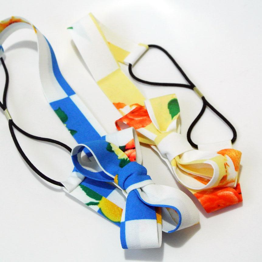 Floral bow-tie elastic headband