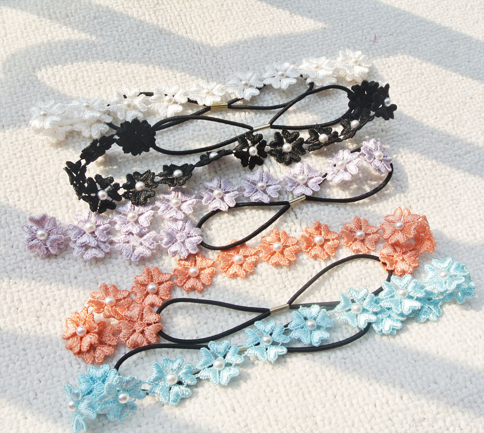 Lace flower white pearls headband 00227