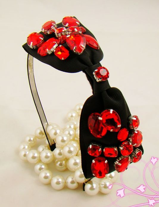 Stunning red gems black bow-tie headband 00246