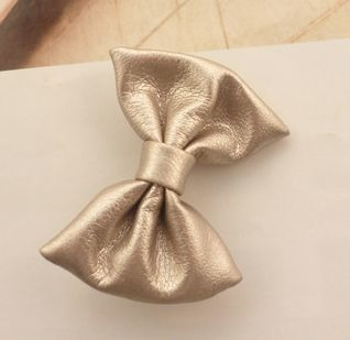Faux leather bow-tie hair clip