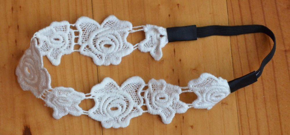White lace flower elastic headband