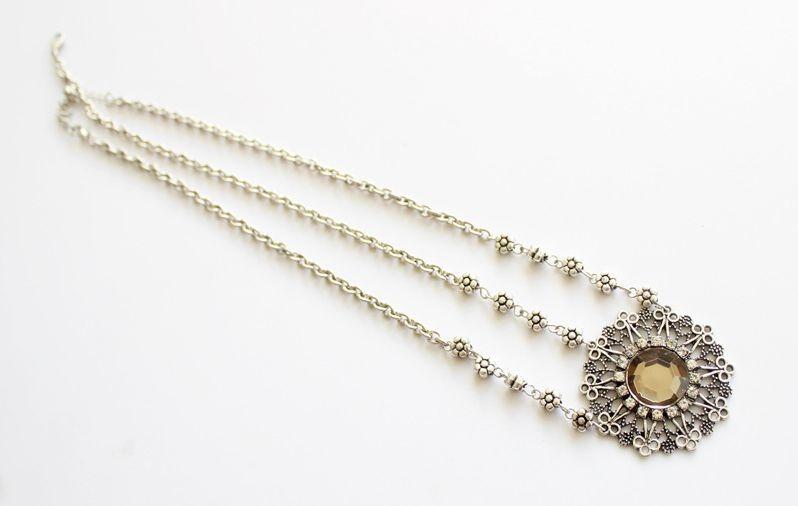 Big gem flower petals head chain
