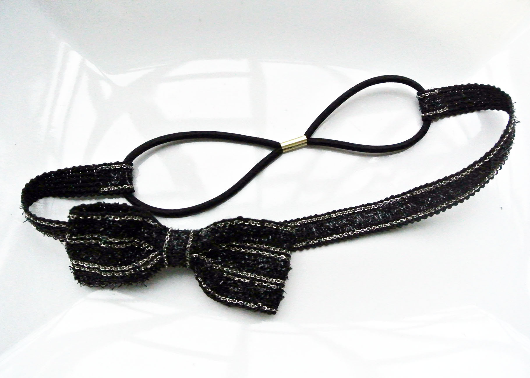 Black bow-tie elastic headband 00399