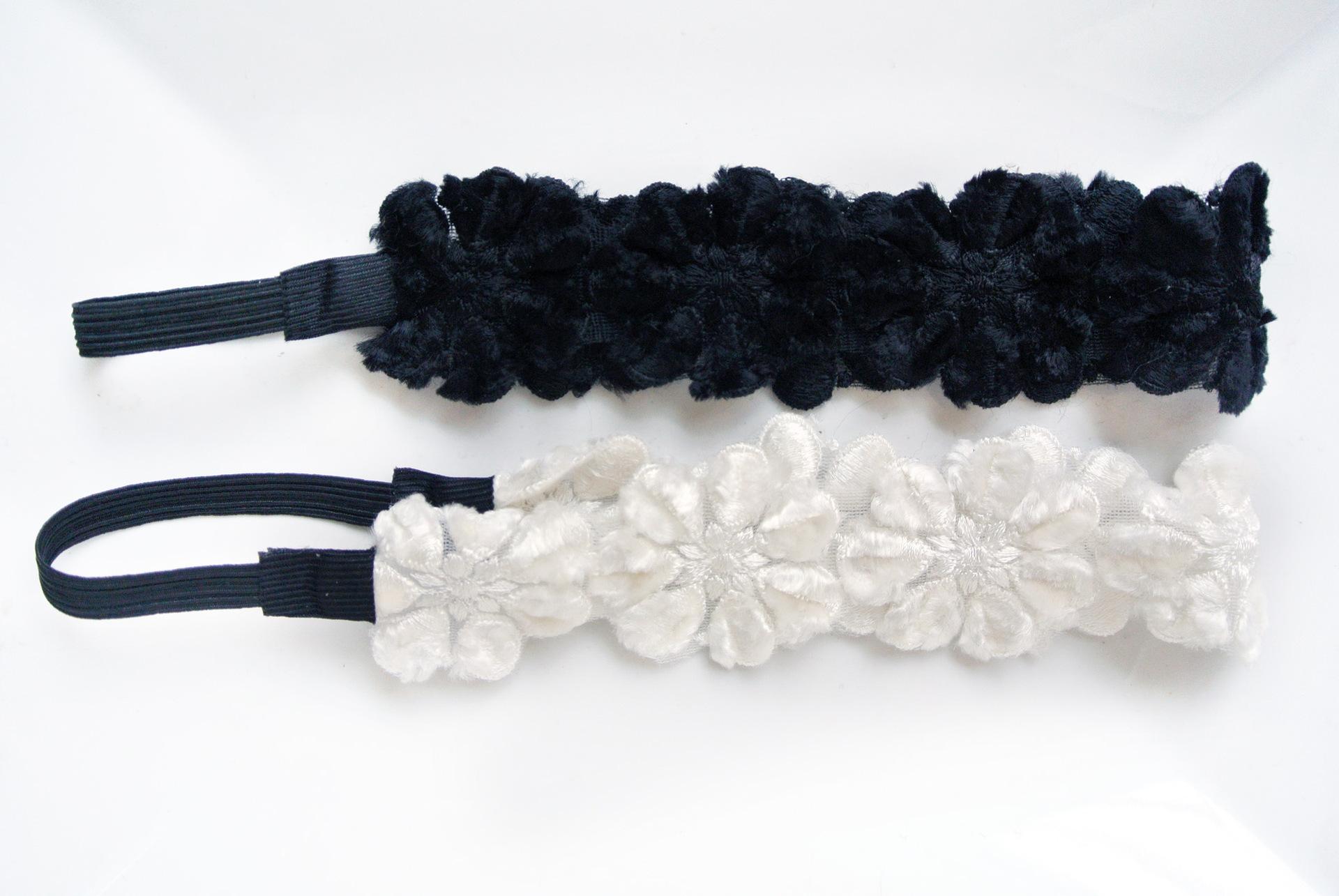 Velvet lace winter flowers elastic headband 00481