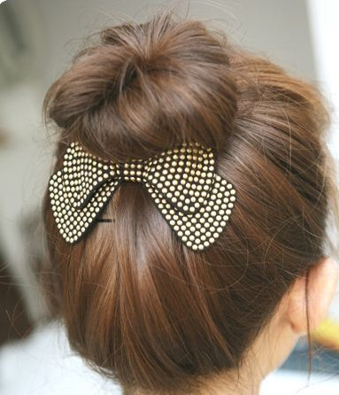 Faux soft-leather bowknot hair clip 00538